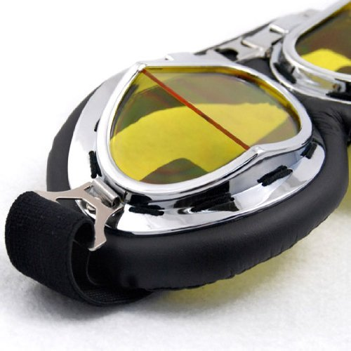 wwii RAF Aviator Motorcycle Biker Cruiser Scooter Pilot Goggles Black Yellow lens (Goggles Cruiser Flame)