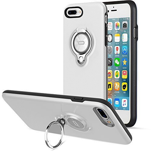 Compatible Case for iPhone 8 Plus and iPhone 7 Plus by ICONFLANG, 360 Degree Rotating Ring Kickstand Case Shockproof Impact Protection Can Work with Magnetic Car Mount case 2017 White-Black