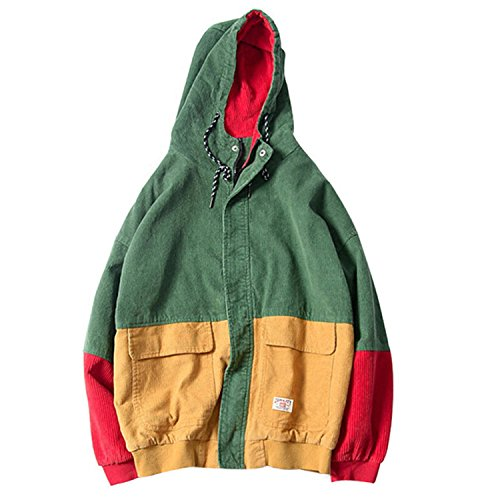 Marvin Cook Autumn Color Block Patchwork Corduroy Hooded Jackets Men Hip Hop Hoodies Coats Casual Streetwear Outerwear Green L ()