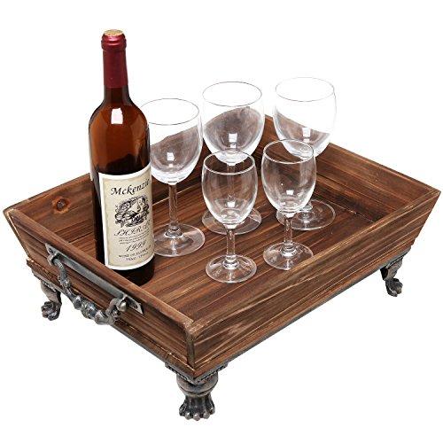 Vintage Rustic Style Decorative Brown Wooden Centerpiece Storage Organizer  / Display Tray W/ Metal Accent