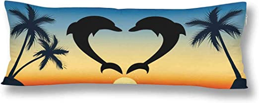 Interestprint Heart Silhouette Dolphins Palm Tree At Sunsetocean Seascape Body Pillow Covers Case Pillowcase With Zipper 21x60 Twin Sides For Home Bedding Couch Decorative Home Kitchen
