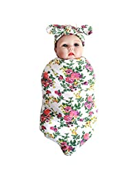 Swaddle Blanket Headband with Bow Baby Receiving Blankets Set for Newborn baby