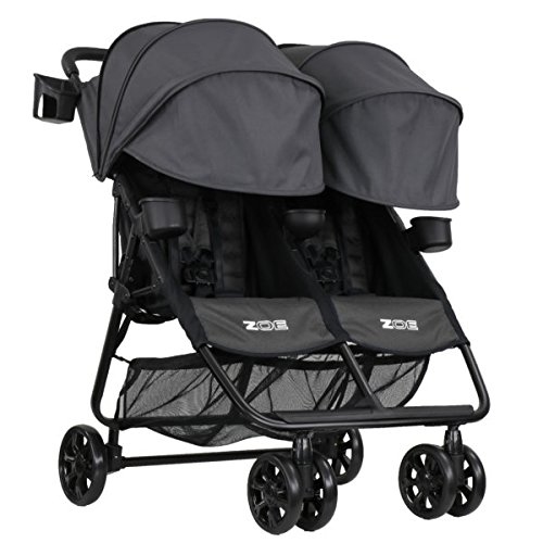 ZOE XL2 Best v2 Lightweight Double Travel & Everyday Umbrella Twin Stroller System (Noah Grey)