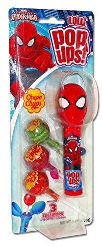 Spider Man Lollipop Holder - Marvel Spiderman Pop Ups Lollipop Case with Chupa Chups Lollipops, 1.26 oz