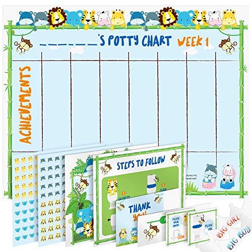 Potty Training Chart for Toddlers – Reward Your Child – Sticker Chart, 4 Week Reward Chart, Certificate, Instruction Booklet and More – for Boys and Girls