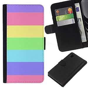 A-type (Stripes Summer Sun Pink Purple) Colorida Impresión Funda Cuero Monedero Caja Bolsa Cubierta Caja Piel Card Slots Para Sony Xperia Z1 L39