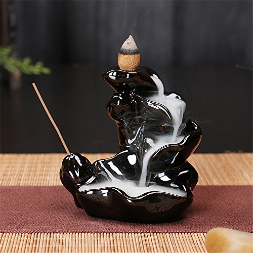 2500 Silk Art Ceramic Glaze Incense Smoke Cone Burner Backflow Censer Tower Holder Porcelain Decoration Charcoal Ash Catcher Tray Bowl for Yoga Bedroom - Glaze Burner