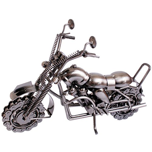 VORCOOL Vintage Iron Motorcycle Model Handmade Classic Motorcycle Models Retro Handicraft Collectible Iron Art Sculpture for Motorcycle Lover Home Desk Workplace Office Decoration (Silver Grey) by VORCOOL