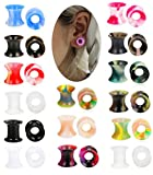 Hanpabum 30PCS Ear Gauges Stretching Kit Thin Soft Silicone Plugs Ear Skin Flexible Flesh Tunnel Expander Gauge Mixed Colors (A:8mm(0G))