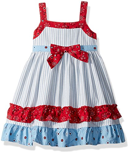 Blueberi Boulevard Baby Girls' Pique Floral & Stripe Sundress, Multi 12M