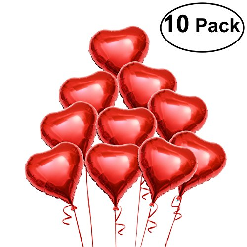 Pixnor 10pcs Red Heart Foil Helium Balloons for Birthday Wedding Engagement Decoration]()
