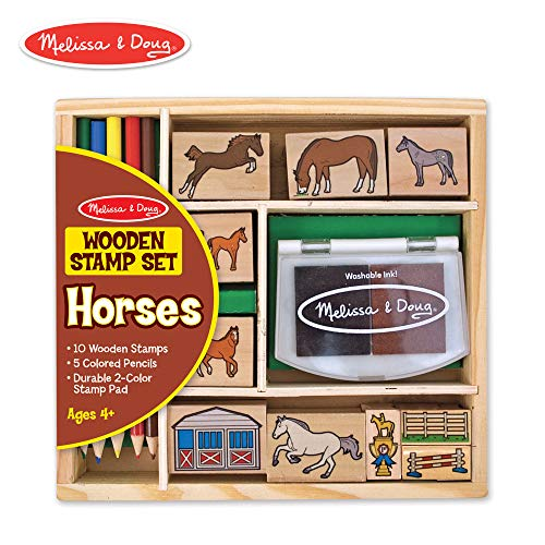 Melissa & Doug Wooden Stamp Activity Set: Horse Stable - 10 Stamps, 5 Colored Pencils, 2-Color Stamp Pad -