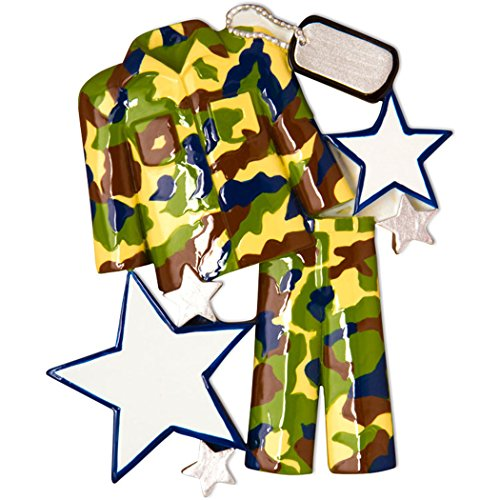 Personalized Camouflage Fatigues Uniform Christmas Tree Ornament 2019 - Armored Forces Serviceman Formal Coat Hat Brave Proud Gender Neutral New Job Soldier Trooper Combat Year - Free Customization