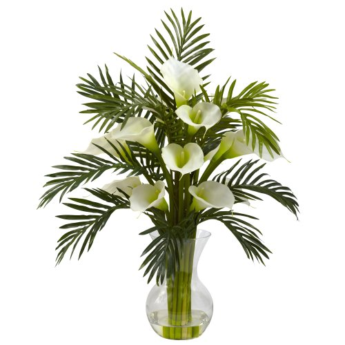 - Nearly Natural 1301-CR Calla Lily and Palm Combo Plant, Cream