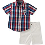 Tommy Hilfiger Baby Boys' 2 Pieces Short Set-Plaid Shirt, Red/Navy, 12M