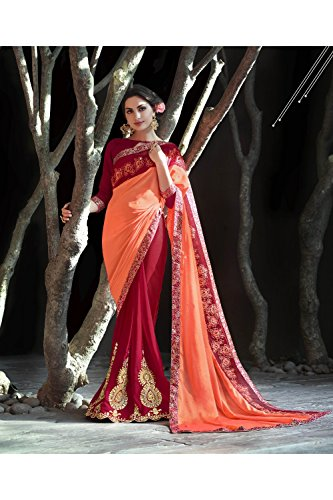 Indian Party Orange Wedding Wear amp Designer Women Da Saree Maroon Sarees For Facioun 55 Traditional PxqwHx105