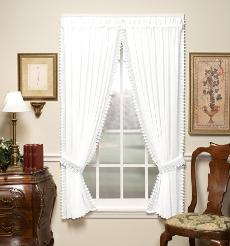 (Today's Curtain Versailles Macrame Crushed Window Voile Panel, 84-Inch, White)