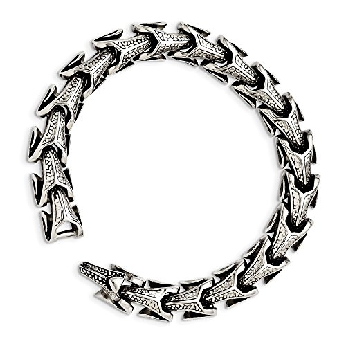 ICE CARATS Stainless Steel Bracelet 8.5 Inch Man Link Men Fashion Jewelry Gift for Dad Mens for Him
