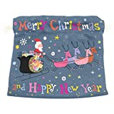 Dragon Sword Santa And His Sleigh Flying Gift Bags Jewelry Drawstring Pouches for Wedding Party, 5.5x5.5(in)
