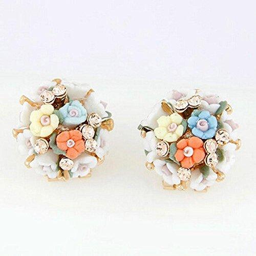 Hemlock Women Lady Elegant Ear Stud Ceramic Flower Earrings (White)