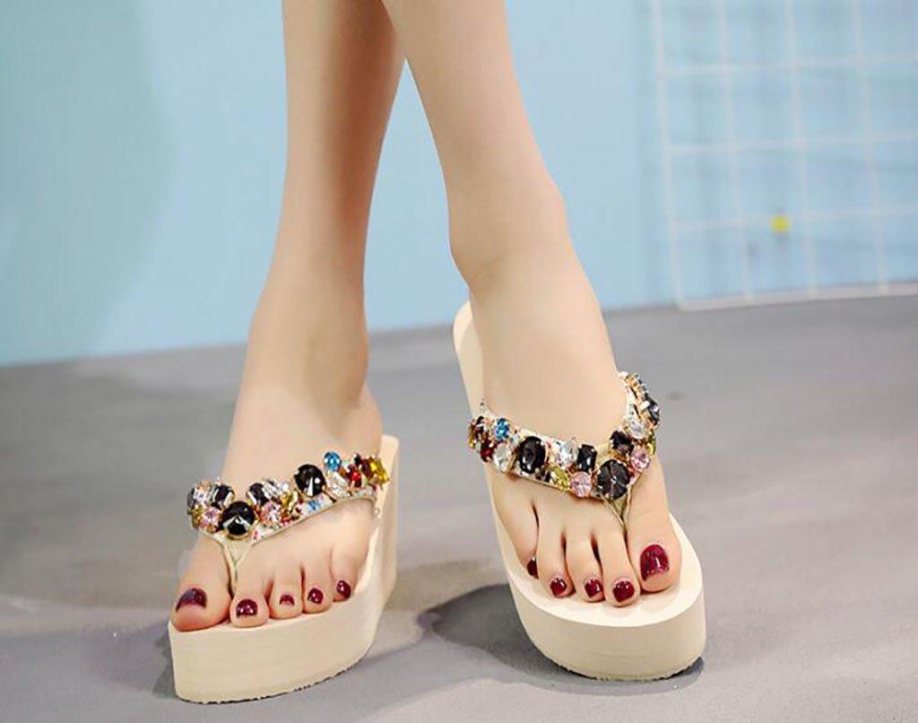 FAFZ Chanclas, Zapatillas de Tacón Alto de Moda, Zapatos de Playa para Mujeres, con Cuña y Zapatillas Slip-on Salvajes Sandalias Planas,Sandalias de Moda (Color : C, Tamaño : 37) 37|C