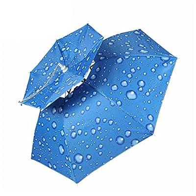 Fishing Umbrella Cap , TwoS Double-Deck Windproof Head Mounted Umbrella Folding Fishing Umbrella Sun Hat