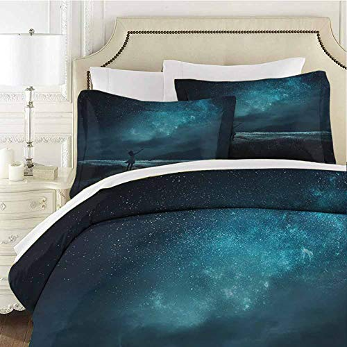 Night Sky Comforter Bedding Set Pray Ceremony Full Moon Twin (68x90 inches) - 3 Pieces (1 Duvet Cover + 2 Pillow Shams) - Ultra Soft and Breathable Comforter Cover