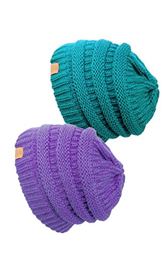 Basico Unisex Adult Warm Chunky Soft Stretch Cable Knit Beanie Cap Hat (Lavender/Teal 101-2pk)