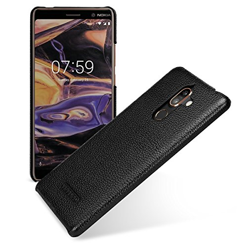 TETDED Premium Leather Case for Nokia 7 Plus Dual SIM, Snap Cover (Black) ()