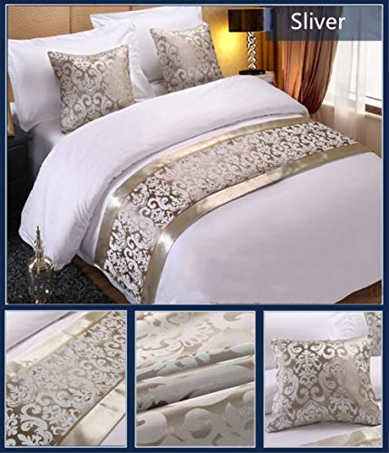 Twelve Sliver Floral Bed Runner Throw Bedding Bedspreads Single Queen King Bed Cover Towel for Home Hotel Decorations (King 19.7x94.5in)