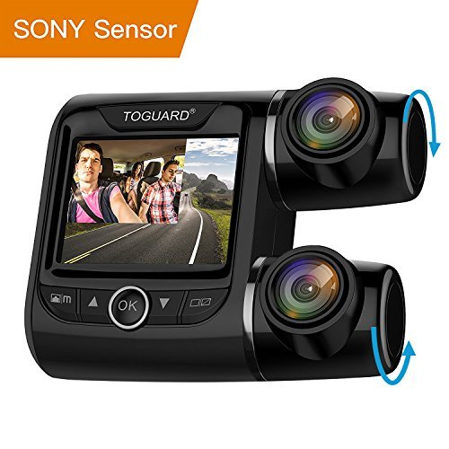 TOGUARD Uber Dual Dash Cam FHD 1080P+1080P Front and Rear View Car Camera 2'' LCD 340° Outside and Inside Dual Dashboard Camera with Sony Sensor, Loop Recording, Parking Mode for Car Taxi