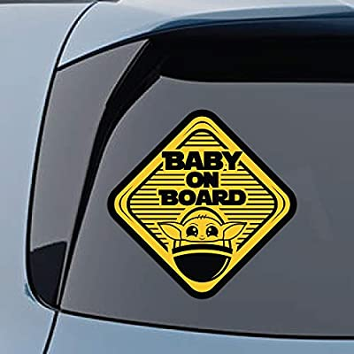 Baby Yoda On Board Large (5x5) Vinyl Decal Stickers Gift Set of 2 - for Cars, Trucks, Window, Bumper, Hydro Flask, MacBook, Luggage, Wall Decor (Stickers): Arts, Crafts & Sewing