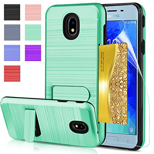 AnoKe Galaxy J3 2018 Case,Galaxy J3 Eclipse 2/J3 Express Prime/J3 Prime 2 Case With HD Screen Protector, [Card Slots Wallet Holder] Kickstand Shockproof Armor Case for Samsung Galaxy J3 2018 KC1 Mint (Cellular Case)