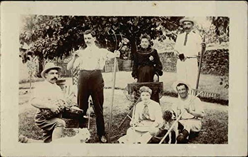 Snapshot of Family Posing With Farm Implements Other Original Vintage Postcard