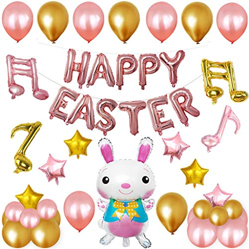 Trigle Easter Bunny Shaped Aluminum Balloon Set Happy Easter Rabbit Balloons Aluminum Mylar Decorative Balloons for Easter Festival Party Supplies Decoration (Rose Gold)