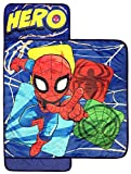 Marvel Spiderman Spidey Squares Nap Mat - Built-in Pillow and Blanket - Super Soft Microfiber Kids'/Toddler/Children's Bedding, Ages 3-7 (Official Marvel Product)