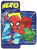 Marvel Spiderman Spidey Squares Nap Mat - Built-in Pillow and Blanket - Super Soft Microfiber Kids'/Toddler/Children's Bedding, Ages 3-7 (Official Marvel Product)
