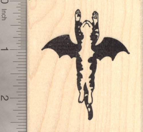 Halloween Cat Bat Rubber Stamp, Flying to the -