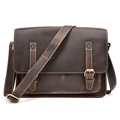 Briefcases Large Sucastle Men's 1 Messenger Leather Vintage Bags Design Shoulder Capacity qFI4HTwF