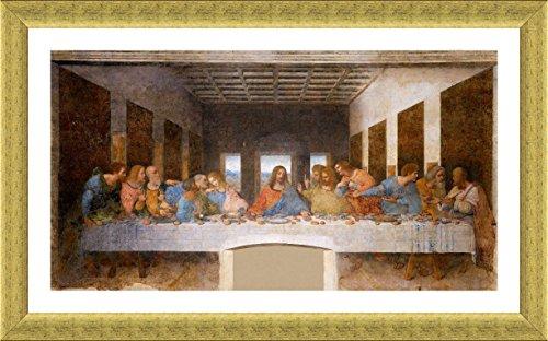 Alonline Art - The Last Supper Leonardo Da Vinci Gold FRAMED POSTER (Print on 100% Cotton CANVAS on foam board) - READY TO HANG | 43''x25'' | For Home Decor Framed Wall Art Framed Artwork For Bedroom by Alonline Art