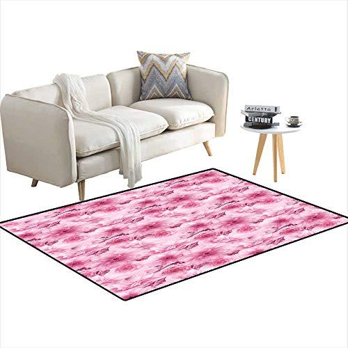 Extra Large Area Rug Pink Cherry Sakura Flower Floral Digital Art Pattern Texture Background - Catalina Floral Rug