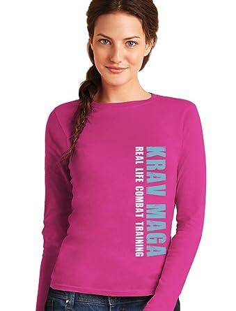 Ausgefallenes Geschenk - Krav Maga Combat Training Frauen Langarm-T-Shirt  Small Rosa