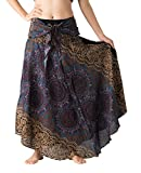 Bangkokpants Women's Long Hippie Bohemian Skirt Gypsy Dress Boho Clothes Flowers One Size Fits (Bohorose Grey, One Size)