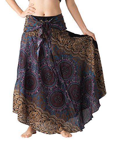 Bangkokpants Women's Long Hippie Bohemian Skirt Gypsy Dress Boho Clothes Flowers One Size Fits (Bohorose Grey, Plus -