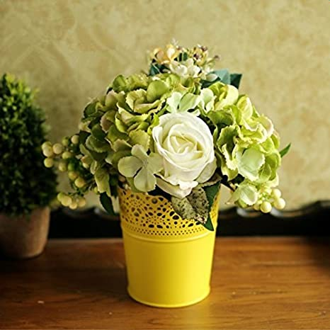 daorier corona encaje flores macetas jarrón de plástico macetas maceta de jardín balcón decoración blanco: Amazon.es: Hogar