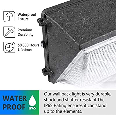 LED Wall Pack Light 120W 5000K with Dusk-to-Dawn photocell ETL DLC wall pack light