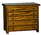 Oak 5 Drawer Jewelry Chest - Amish Made in USA
