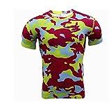 Findci Mens Compression Camo Tops Round Collar Sports Tight T-shirt
