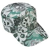 Green Camo Cadet Cap Skull Biker Gothic Adjustable Military Patrol Castro Hat