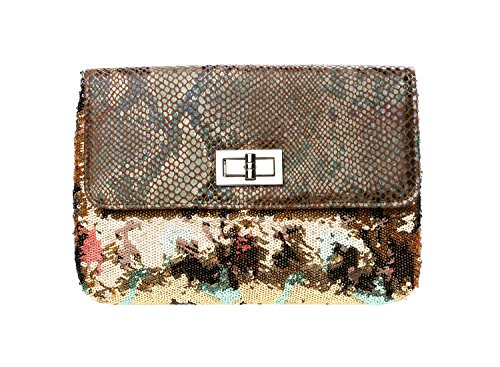 Shiny Sequin Women's Clutch Purse w/ Snakeskin Flap (Lined Snakeskin Clutch)